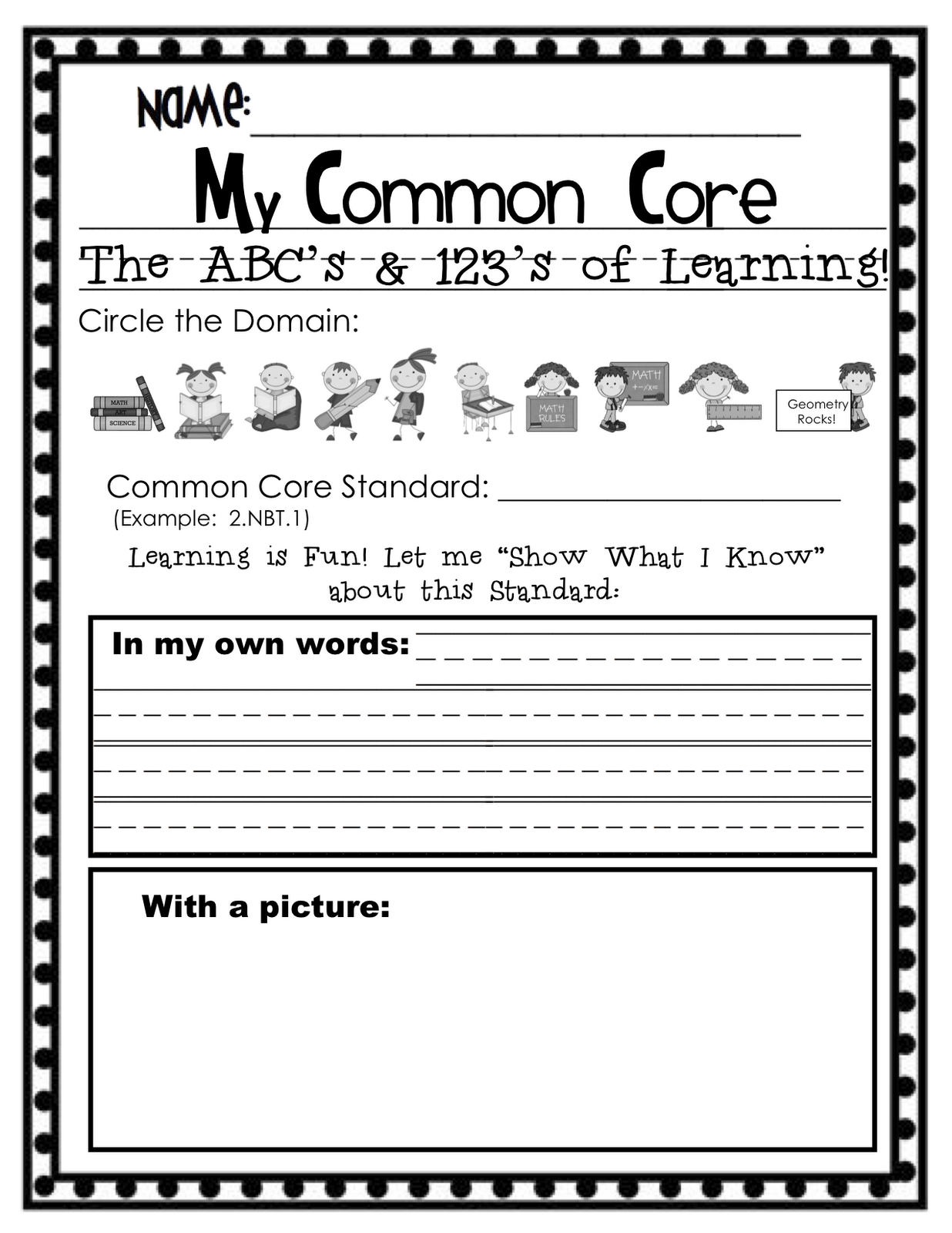 """Common Core Lesson Plan Template Elementary """"my common core standards"""