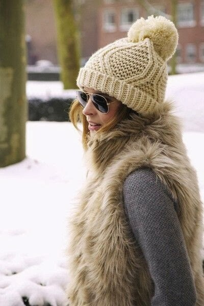 Lovely Hat and Fur Jacket with Grey Sweater