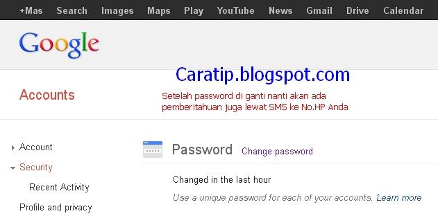 cara mengganti password google