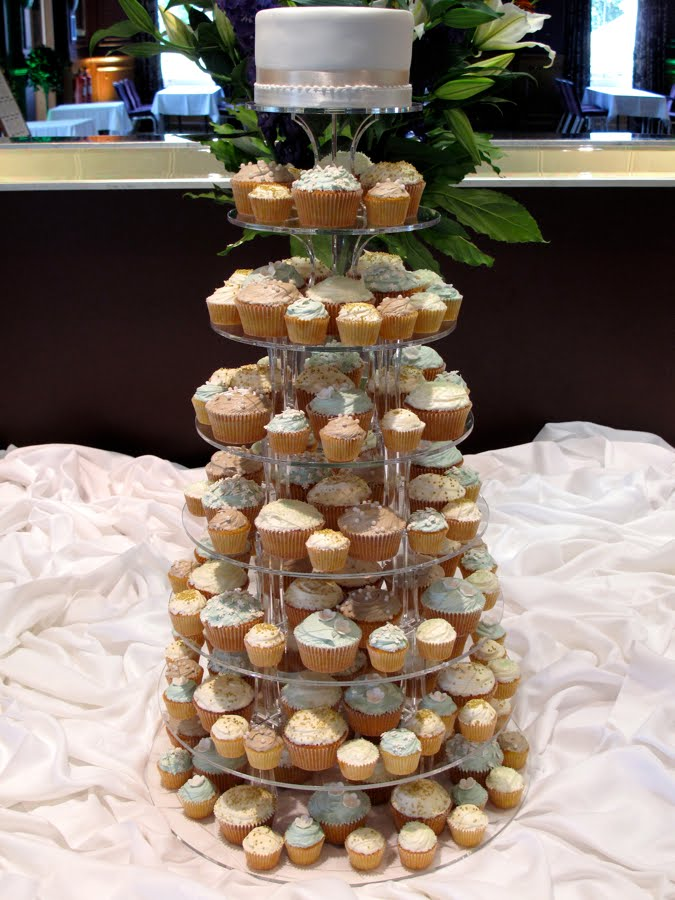 Taupe and light teal wedding tower Here 39s a lovely tower of cupcakes we did