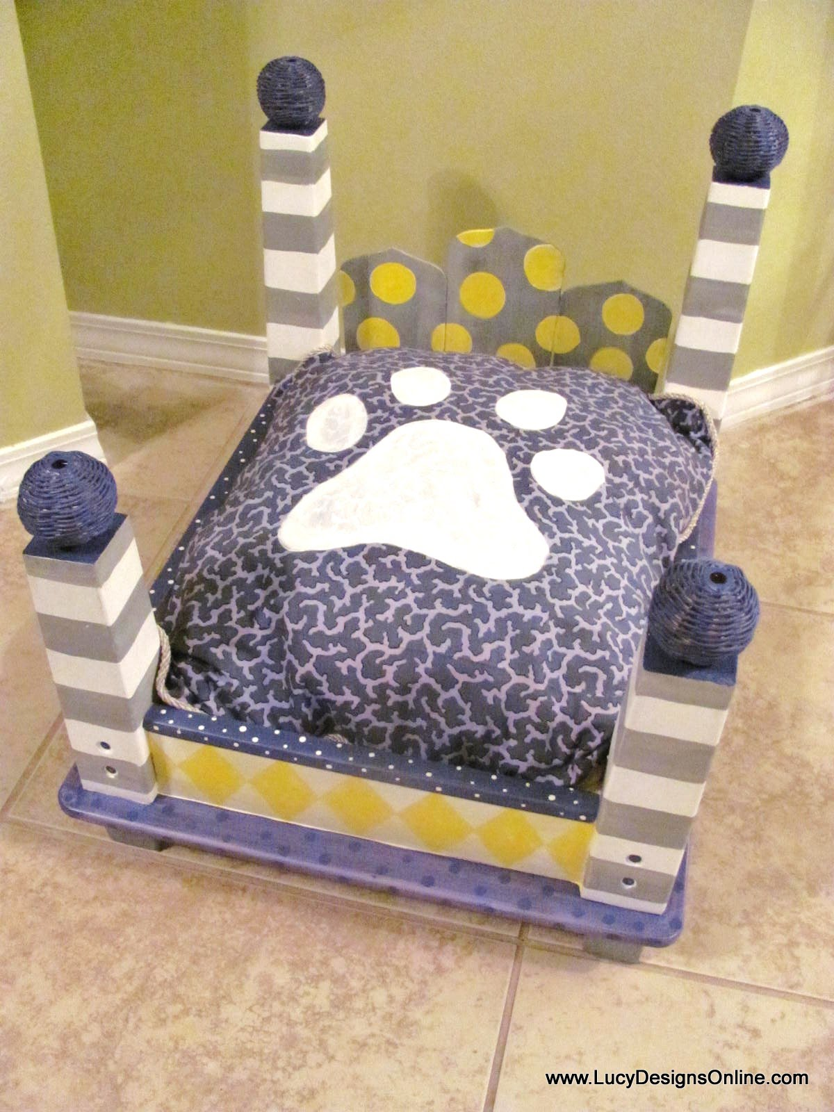 Ideal Dog Bed from an End Table Gray and Yellow