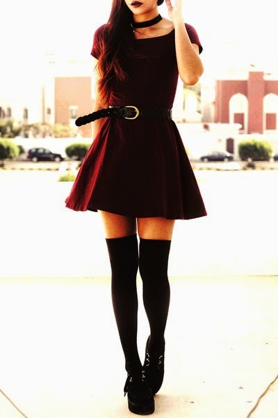 Claret red dress and knee socks with cute belt