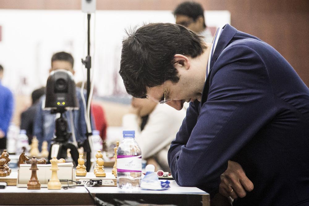 Contre performance du Russe Vladimir Kramnik (2796) qui annule avec les Blancs face au Polonais Kacper Piorun (2637) - Photo © site officiel