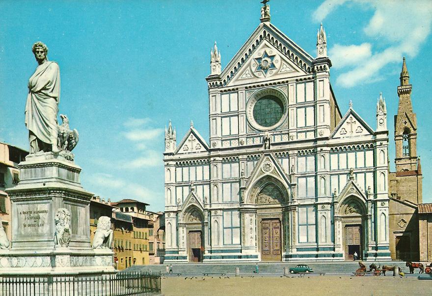 Postal de la Basílica de la Santa Cruz y la estatua de Dante en Florencia