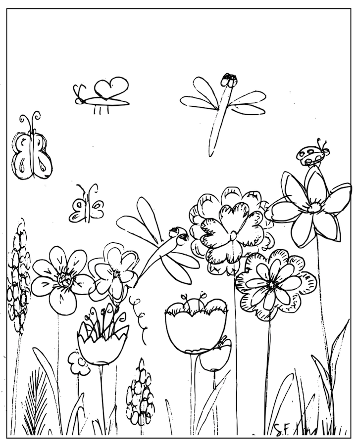 Free Printable Coloring Page Flowery Meadow And Dragonfly Meadow Coloring Page