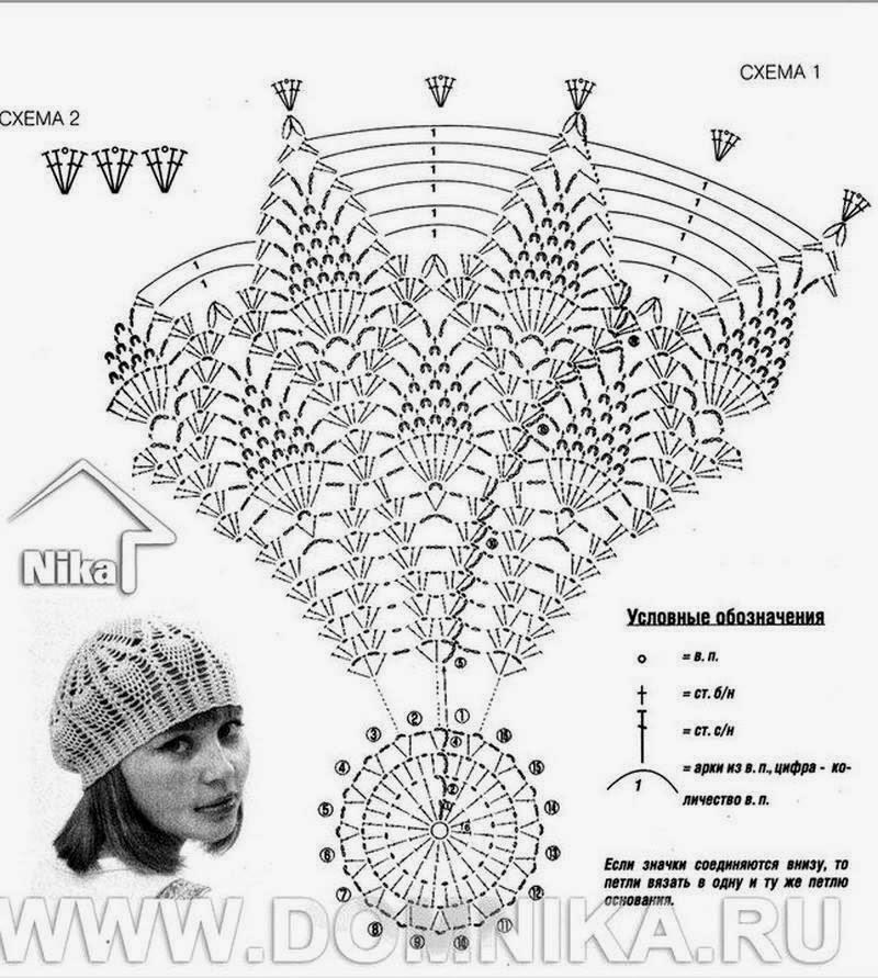 Вязание крючком шапки-берет для женщин схемы