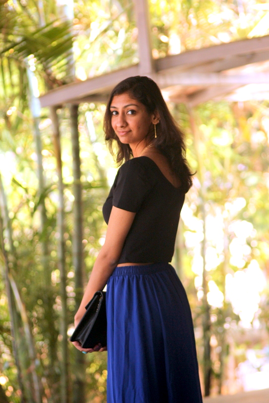 top indian fashion blogger, valentines day outfit, best indian fashion blog, oasap blue maxi skirt