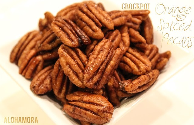 Orange Spiced Pecans cooked in the crockpot.  Easy to make.  Delicious. Alohamora Open a Book  http://www.alohamoraopenabook.blogspot.com/ protein, healthy treat, gluten free, easy, simple, holiday, neighbor gift, snack
