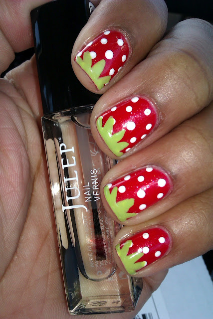 Red, polka dot, strawberry, Julep Rose, Revlon Watermelon Fizz, nail art, design, mani
