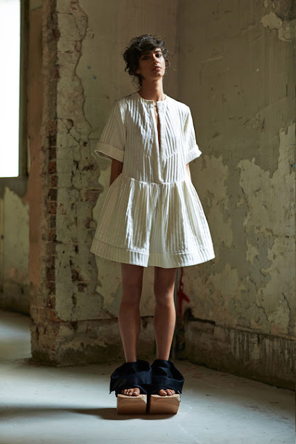 Ellery, Resort 2014 - oversize, ill-fitting little dress, large wooden shoes, japanese, little girl