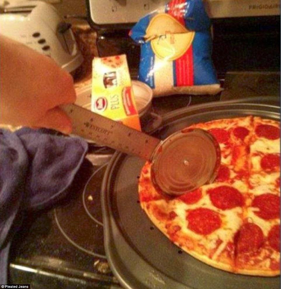 مسطرة وغطاء علبة بدلا من قطاعة البيتزا