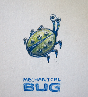 Pencil drawn mechanical bug resembling a ladybug