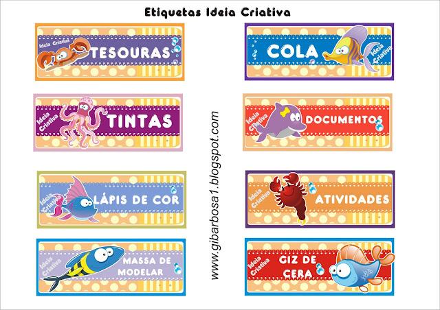 Etiquetas para organizar material tema Fundo do Mar
