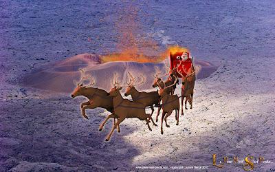 le Père Noël sur le volcan du piton de la fournaise, à la Réunion