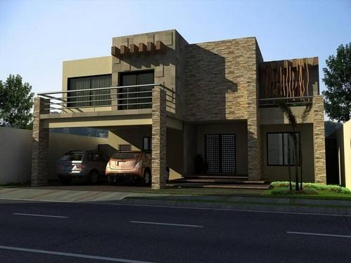 Fachadas contempor neas residencia contempor nea con for Fachadas minimalistas con balcon