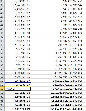 Excel - Schachaufgabe Weizenkörner berechnen