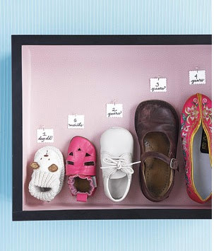 childrens shoes in a frame