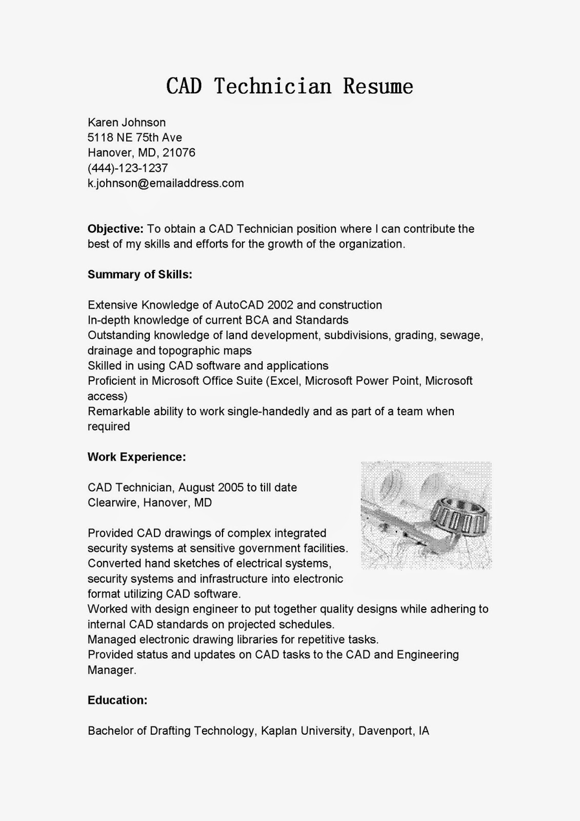 Resume Samples Cad Technician Resume Sample