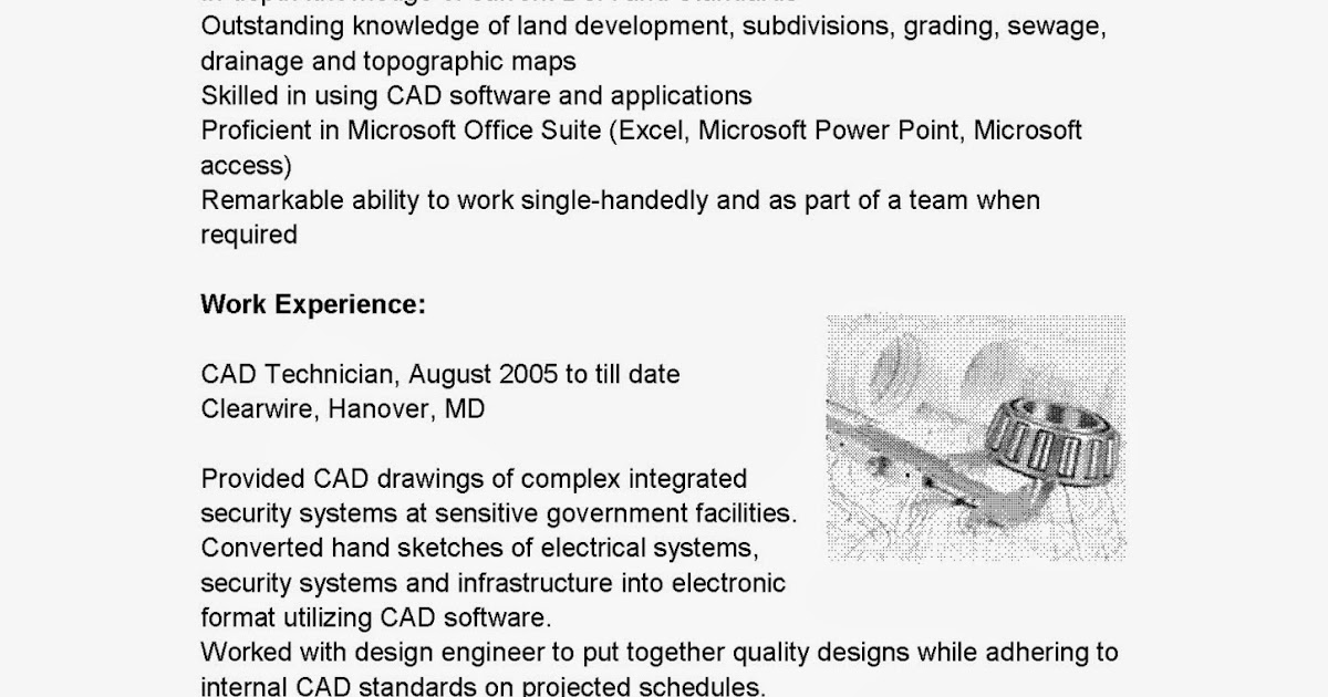 Cad specialist sample resume