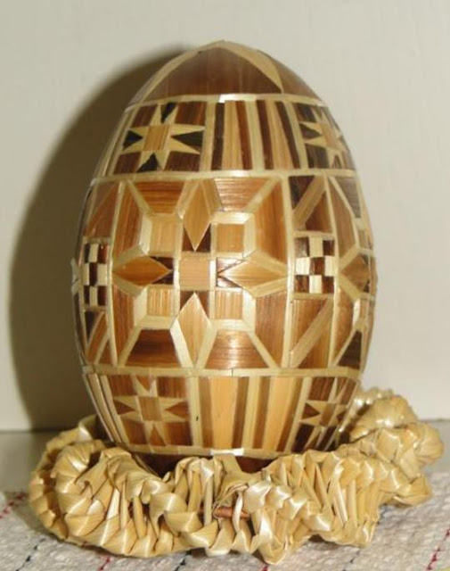 Straw Decorated Ukrainian Easter Egg