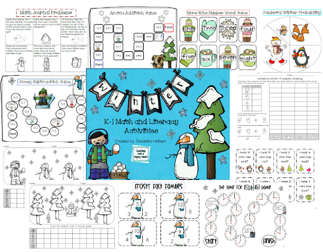 http://www.teacherspayteachers.com/Product/Winter-Unit-K-1-Math-and-Literacy-Activities-171686
