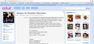 Comunidade do Orkut Amigos do Quarteto Adoramus