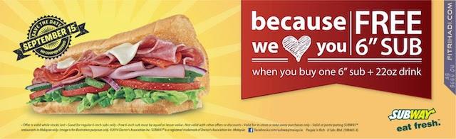 (Promosi) Subway Beli 1 Percuma 1 Pada 15 September 2014