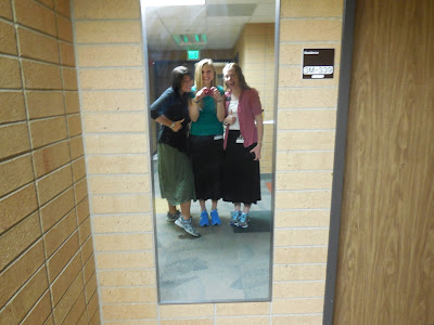we had to wear tennis shoes with our skirts because they were the only shoes we could wash ha!