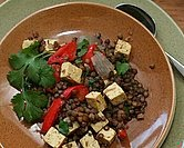 Two-Way Lentil Skillet (Black Lentils with Tofu)
