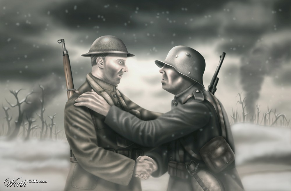pencil drawing of armed British and German soldiers shaking hands in