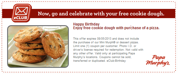 papa murphys freebie birthday cookie dough coupon