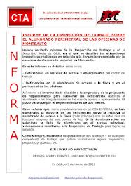 INFORME DE LA INSPECCIÓN DE TRABAJO SOBRE EL ALUMBRADO PERIMETRAL DE LAS OFICINAS DE MONTEALTO