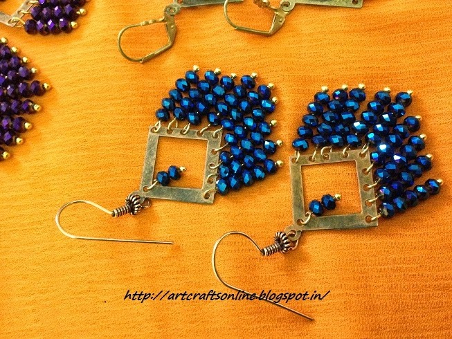 blue crystal studded dangler drops
