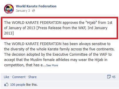 صورة من القرار على الحساب الرسمى للإتحاد الدولى للكاراتيه على موقع فيس بوك