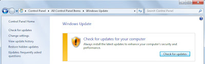 Menonaktifkan Auto Updates Windows 7