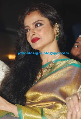 Jewellery Designs BollyWood Actress Rekha Gold Jewellery