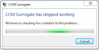 COM surrogate error in  Windows 7 Photo viewer.