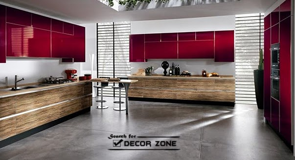 Red kitchen cabinets in combination with natural wooden color