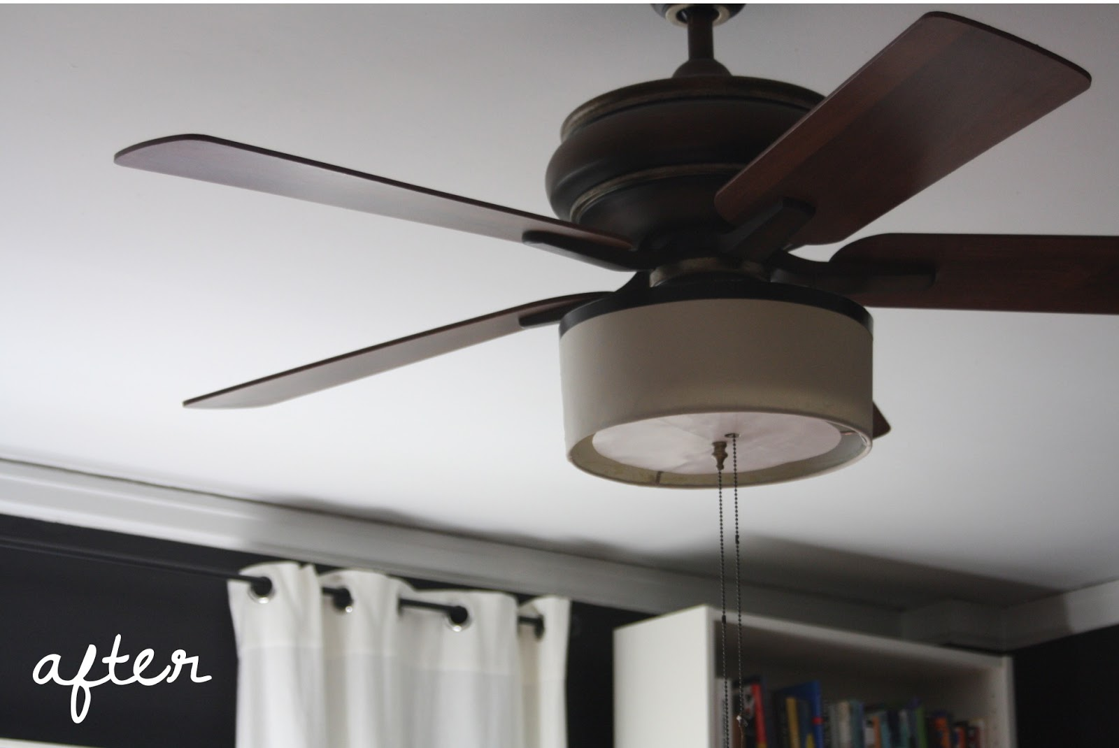 shot of the diy drum shade and diffuser made for the ceiling fan redo. Black Bedroom Furniture Sets. Home Design Ideas