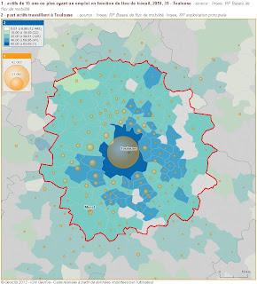 population active de 15 ans ou plus ayant un emploi et travaillant à Toulouse en 2010