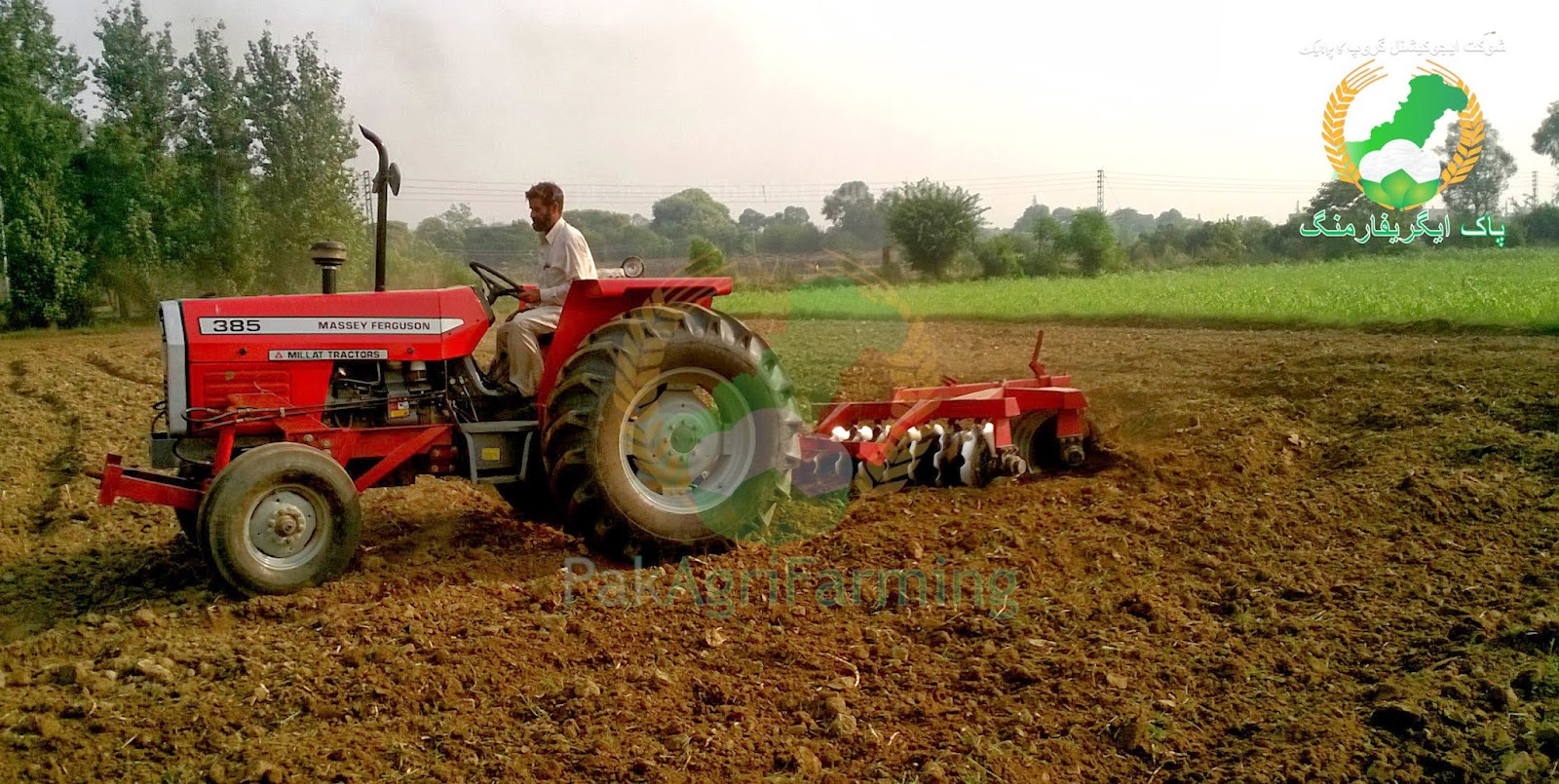 Tillage disc plowing in the field pakagrifarming