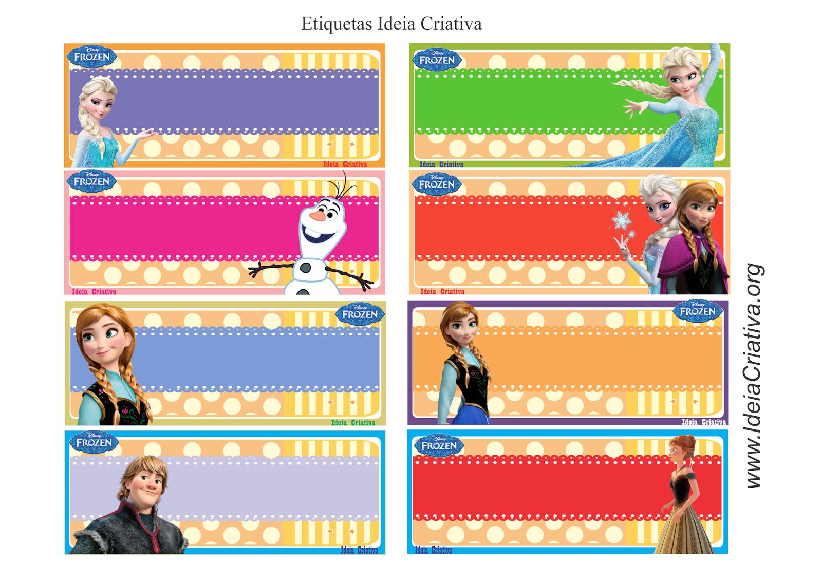 Etiquetas Frozen para colar no material escolar com nome da criança.