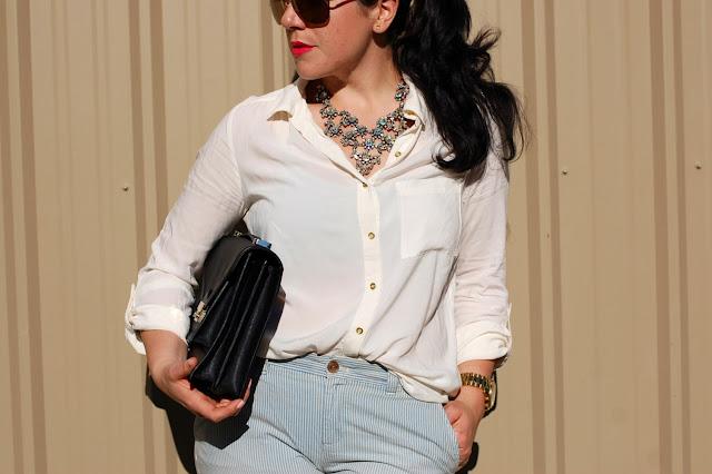 Gap chinos,Forever 21 blouse,J.Crew rhinestone bib necklace,Loeffler Randall Rider bag,Topshop heels and a Michael Kors watch