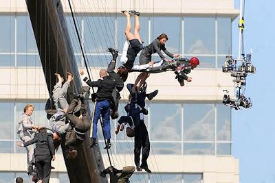 Curiosa foto del rodaje de Iron Man 3 - cine series y tv