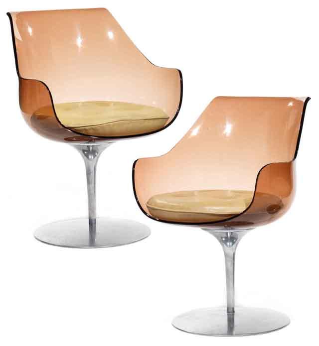 sillas vintage antiguas de los 50s sillas champagne de erwinw & laverne Estelle