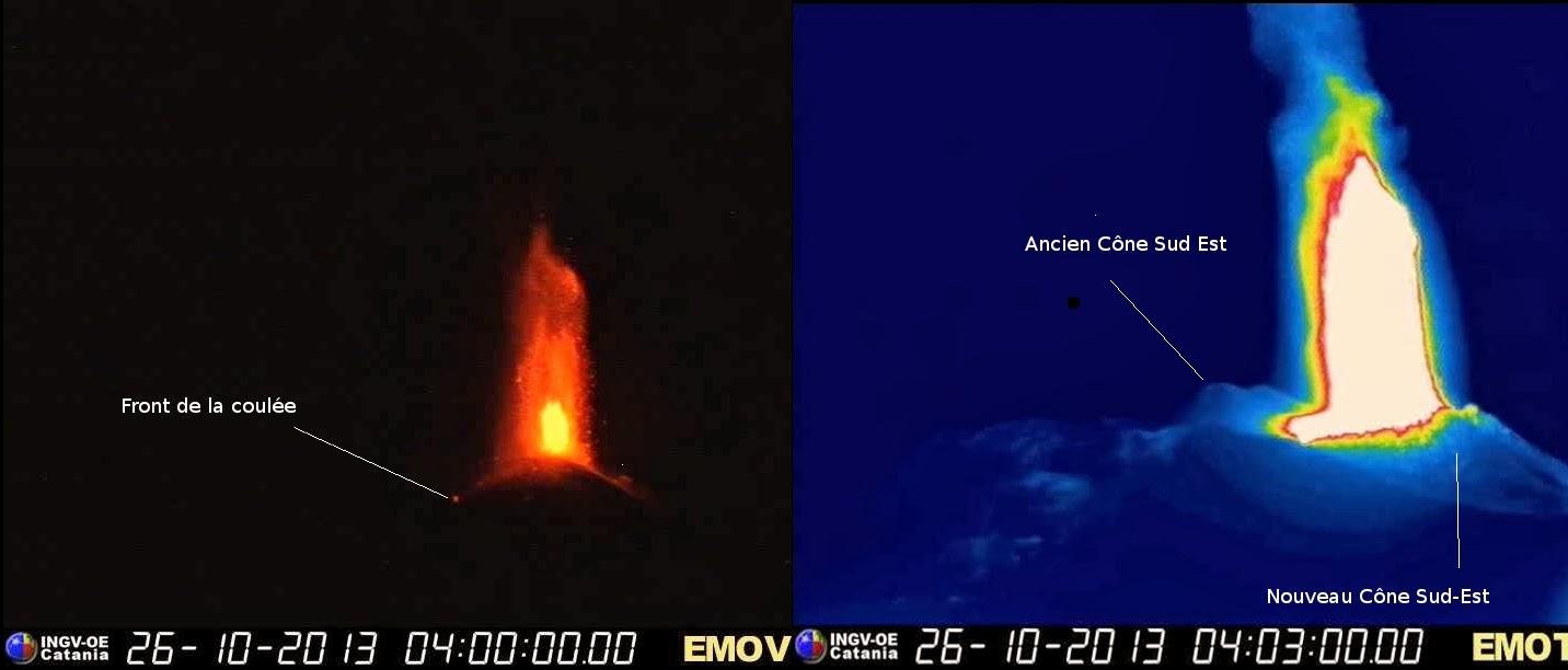 Fontaine de lave du volcan Etna, 26 octobre 2013
