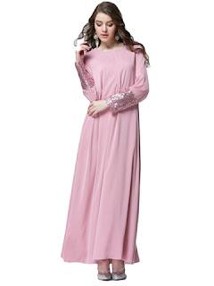 Maxi dress polos aksen payet busana muslim modern masa kini