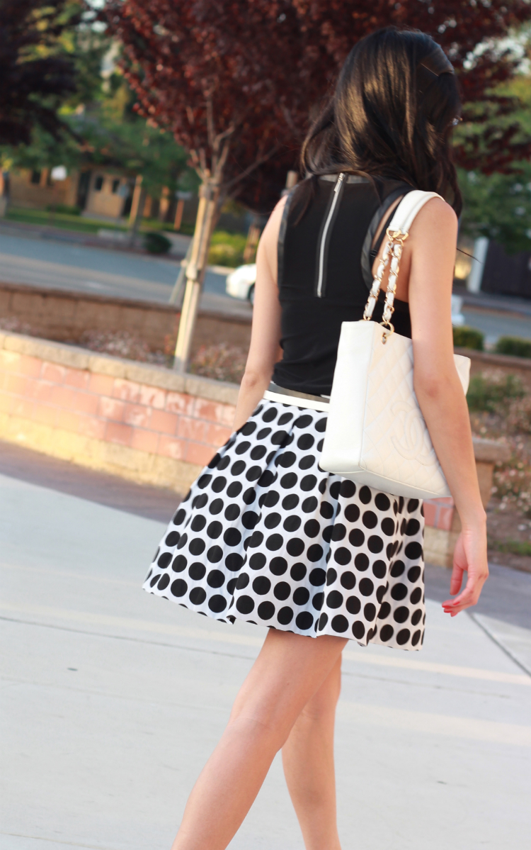 french connection polka dot skirt chanel petite shopping tote black and white outfit