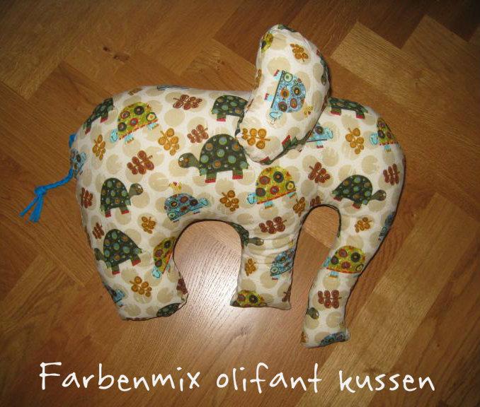 Farbenmix olifant kussen, als Sint kadootje