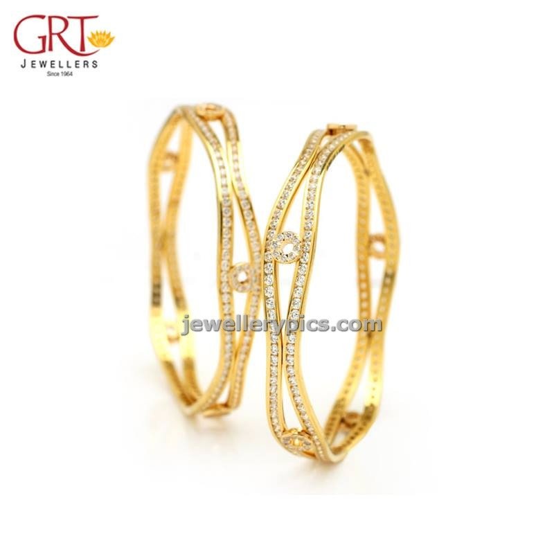 jewelry: GRT stone gold bangle mela designs -2013